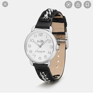 woman's Black leather chain link wrist watch